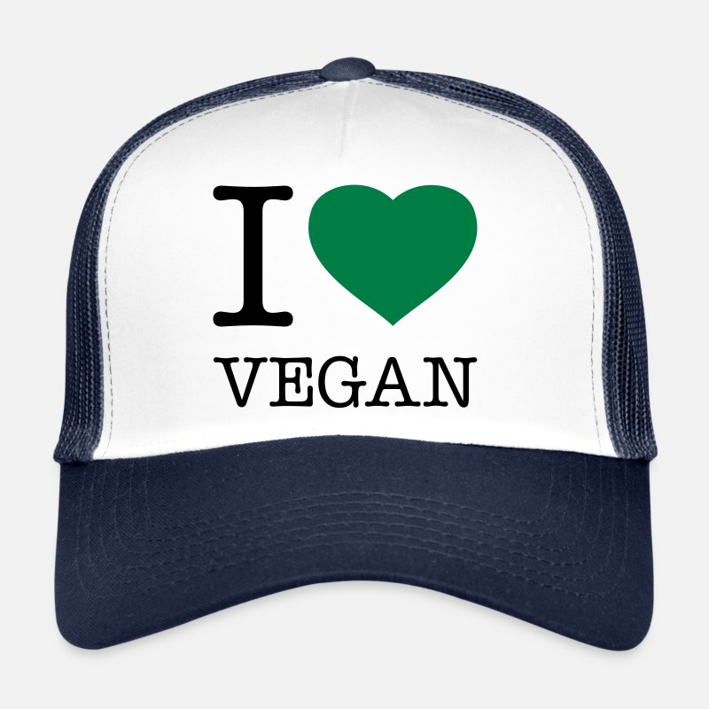 Vegan Petten & Mutsen - I LOVE VEGAN - Trucker cap wit/navy