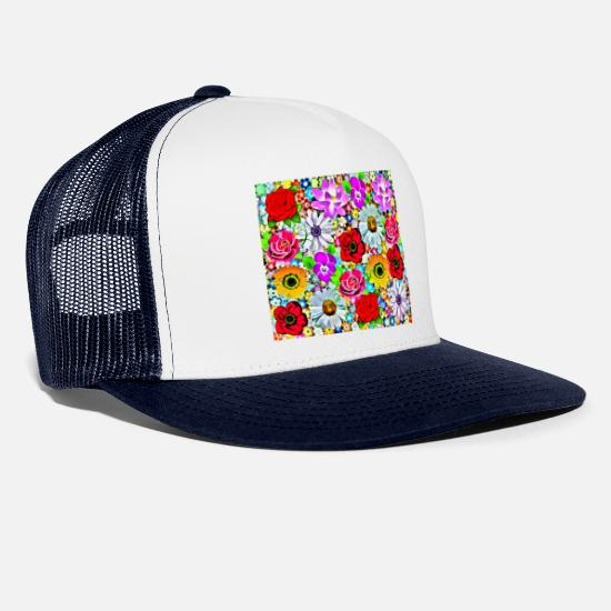 Floral Caps & Hats - Summer flower collage - Trucker Cap white/navy