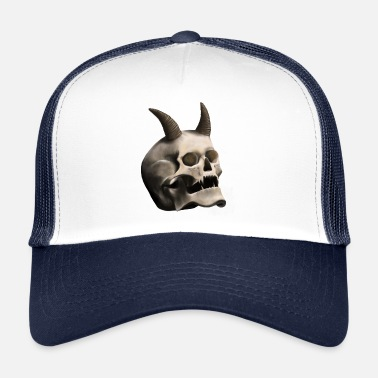 Devil Horns Skull with Devil Horns - Trucker Cap