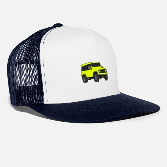 Camper Caps & Hats - Truck Van Sketch - Trucker Cap white/navy