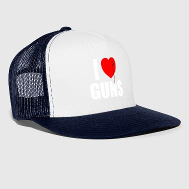 I love guns! Weapons satire. Bullet hole with Blu - Trucker Cap