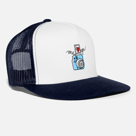 Love Caps & Hats - Polaroid Design Illustration - Trucker Cap white/navy