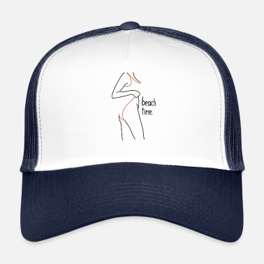 Naked Woman Beach Time Girl with Hips Design Retro Drawing - Trucker Cap