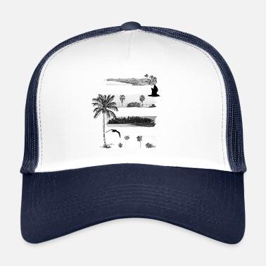 523ed3be3ef53 Palmeras Playa y palmeras en negro   blanco - Gorra trucker