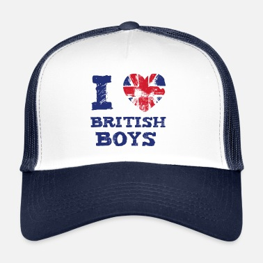 Flagi Brytyjskiej I Love British Boys Quote Graphic - Czapka trucker