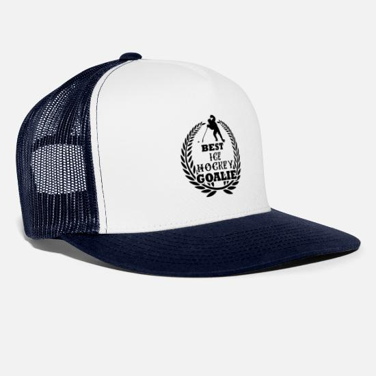 Hockey Caps & Hats - Best ice hockey goalie Ice Hockey Goalie - Trucker Cap white/navy