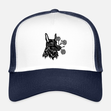 Wait Dog With Flowers Bouquet In The Muzzle - Trucker Cap