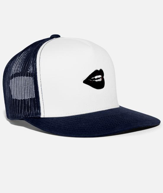 I Love Caps & Hats - Lips - Trucker Cap white/navy