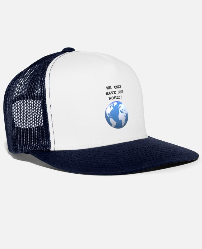 Nature Conservation Caps & Hats - One World, One Life! - Trucker Cap white/navy