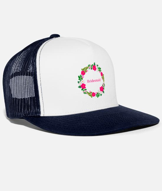 Maid Of Honor Caps & Hats - flower wreath bridesmaid - Trucker Cap white/navy
