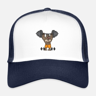 Weight Lifting Dog lifts weights in the gym gift - Trucker Cap
