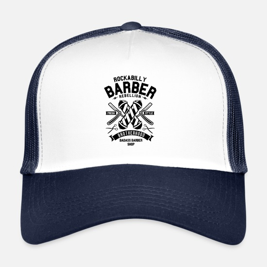 Beast Mode Caps & Mützen - Rockabilly Barber - Trucker Cap Weiß/Navy
