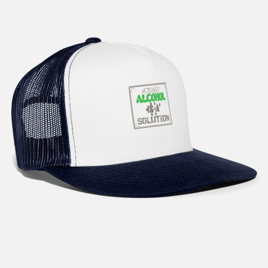Alcohol Caps & Hats - Alcohol is a solution - Trucker Cap white/navy