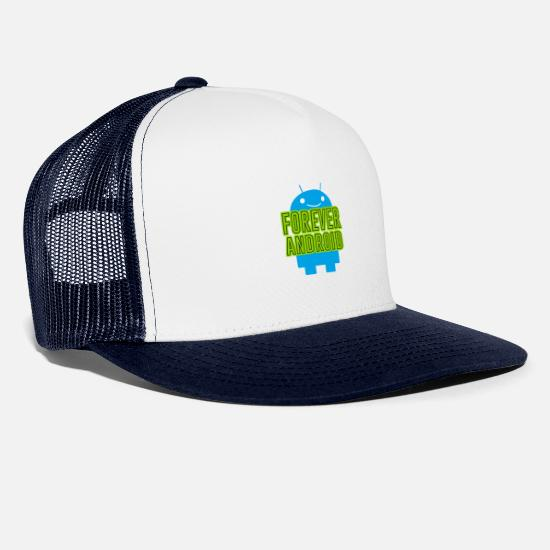 Android Caps & Hats - Forever Android - Trucker Cap white/navy