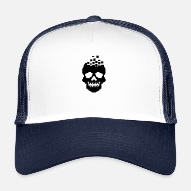 Beat Em Up Videogame Gamer Gaming Pixel Skull T-Shirt - Trucker Cap