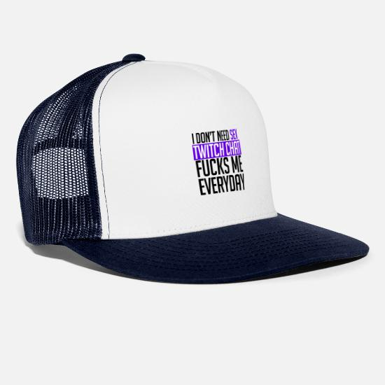 Twitch Caps & Hats - Twitch funny shirt - Trucker Cap white/navy