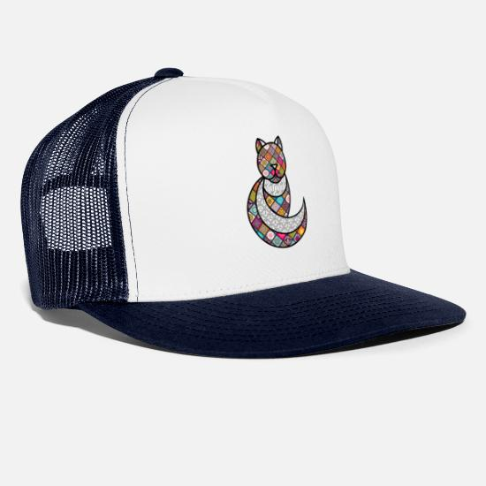 Psychedelic Caps & Hats - PSYCHEDELIC CAT / THE PSYCHEDELIC CAT - Trucker Cap white/navy