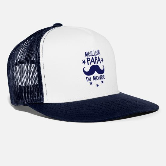 Best In Class Caps & Hats - best daddy world mustache star logo - Trucker Cap white/navy
