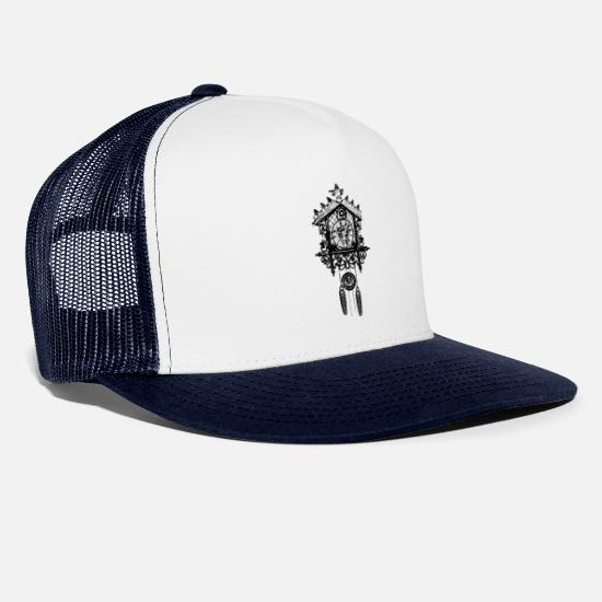 Gong Caps & Hats - Cuckoo clock - Trucker Cap white/navy