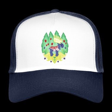 Blue Dalaälg - a moose with saddle - Trucker Cap