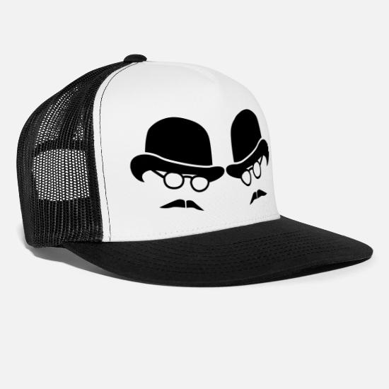 Hats Caps & Hats - two men on bowler hats with glasses and moustaches - Trucker Cap white/black