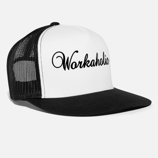 Workaholic Caps & Hats - Workaholic (1c) - Trucker Cap white/black