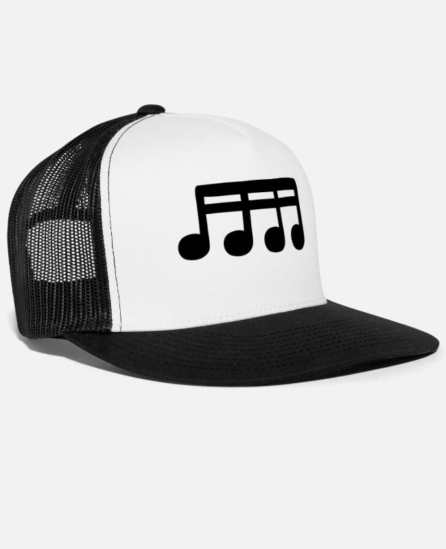 Guitar Caps & Hats - sixteenths - Trucker Cap white/black