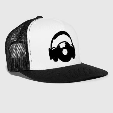 Headphones and vinyl record - disque vinyle - Trucker Cap