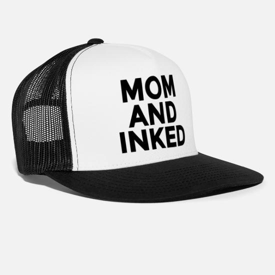 Tattoo Caps & Hats - Mom And Inked - Trucker Cap white/black