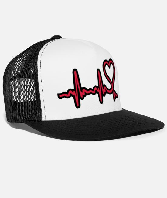 Heart Caps & Hats - heartbeat - Trucker Cap white/black
