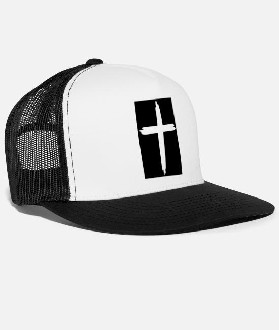 Religious Caps & Hats - cross - Trucker Cap white/black