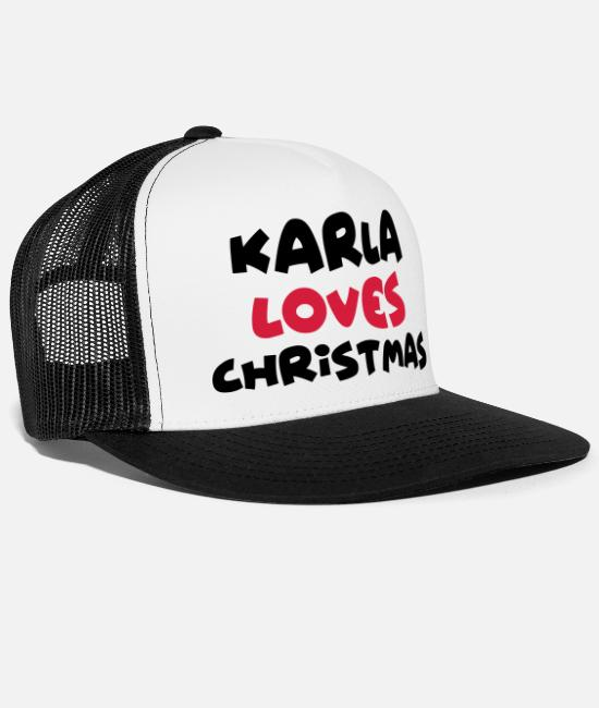 Christmas Caps & Hats - karla loves christmas xmas name - Trucker Cap white/black