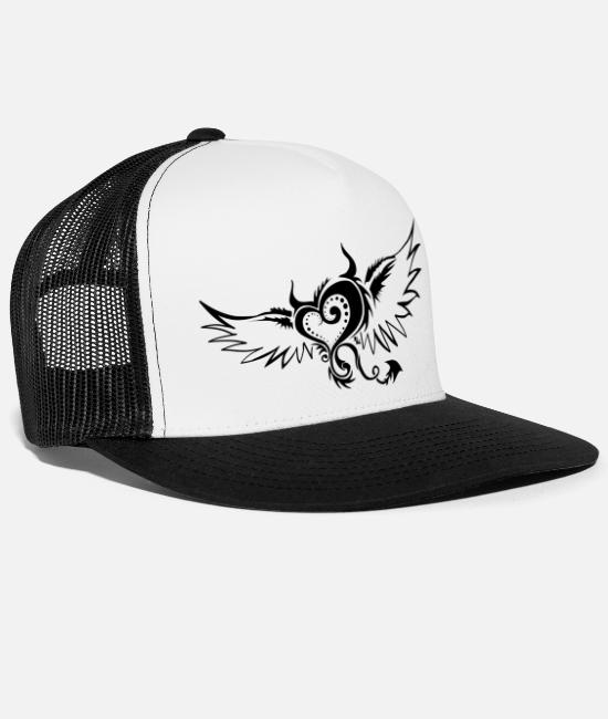 Heart Caps & Hats - flying devil by DK - Trucker Cap white/black