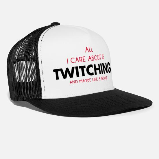 About Caps & Hats - all i care about is twitching - Trucker Cap white/black