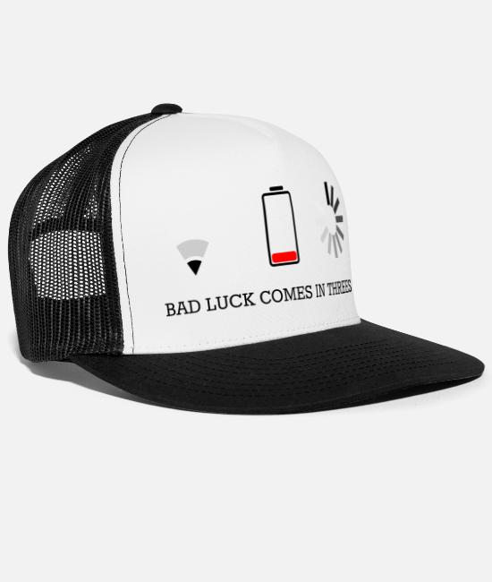 Wireless Caps & Hats - triple bad luck - Trucker Cap white/black
