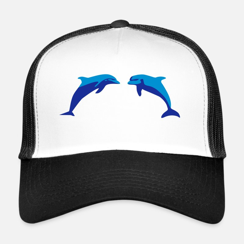 Dolphin Caps & Hats - Dolphins, Dolphin - Trucker Cap white/black