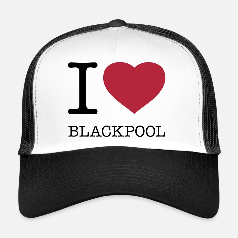 British Caps & Hats - I LOVE BLACKPOOL - Trucker Cap white/black