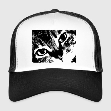 Cat face eyes realistic - Trucker Cap