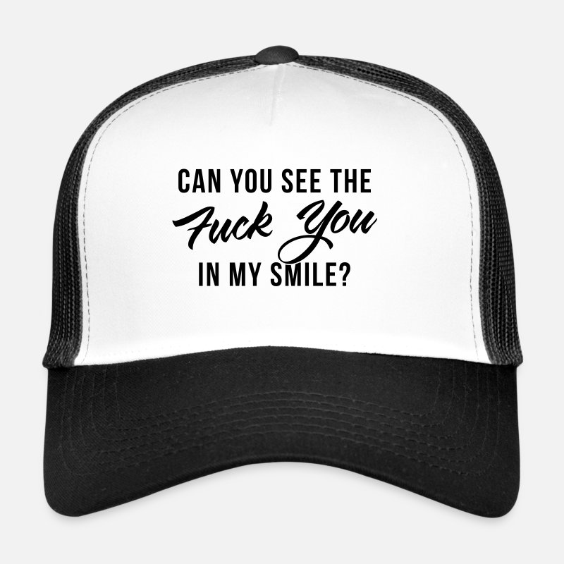 Fuck Caps & Hats - fuck-you - Trucker Cap white/black