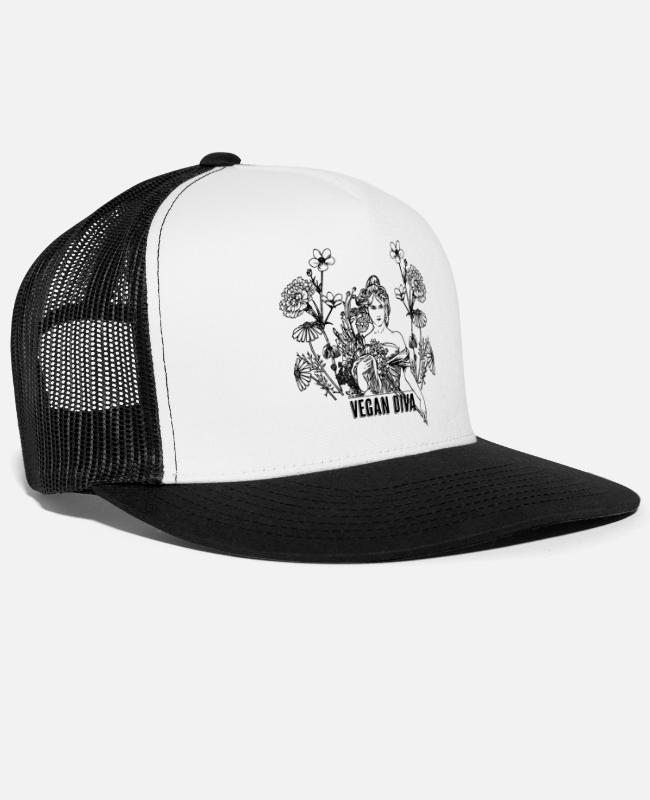 Animal Welfare Caps & Hats - Vegan Diva - lady with flowers - Trucker Cap white/black