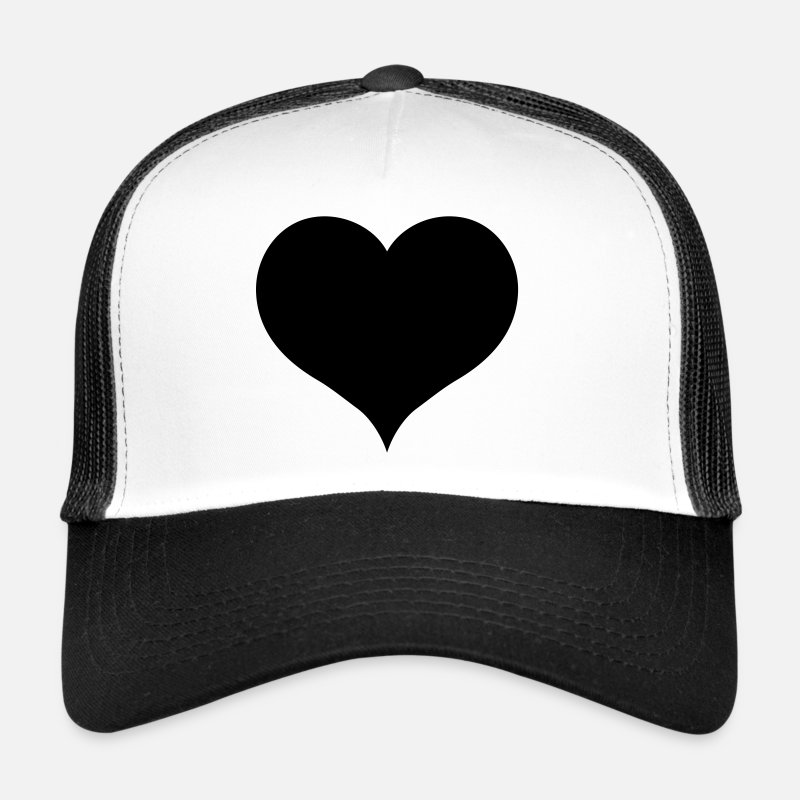 Love Caps & Hats - Black Heart - Trucker Cap white/black