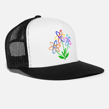 Nuclear flower power, atom, atomic nucleus, flowers nuclear energy - Trucker Cap