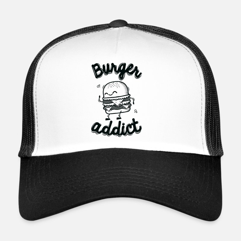Nice Caps & Hats - Burger Addict - Trucker Cap white/black