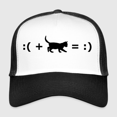 :( + Cat = :) Formula for happiness - Trucker Cap