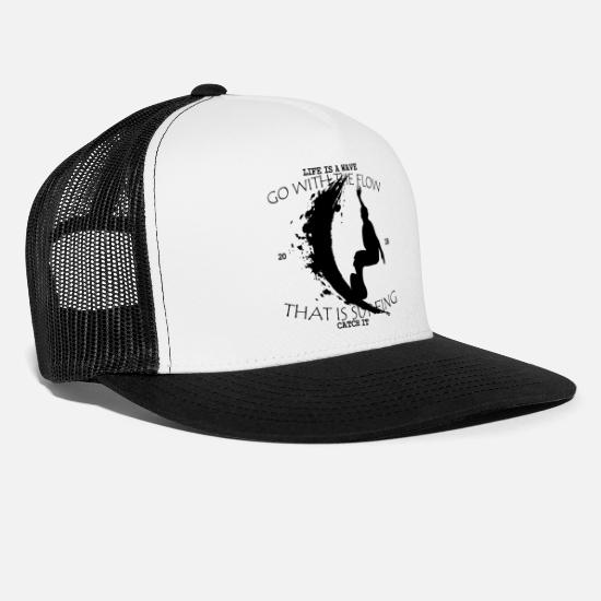 Surfer Caps & Hats - THAT IS SURFING - GO WITH FLOW (b) - Trucker Cap white/black