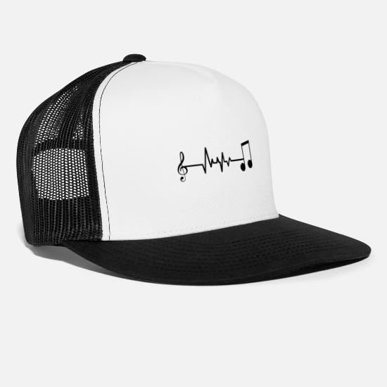 Music Note Caps & Hats - Heartbeat heartbeat music notes gift - Trucker Cap white/black