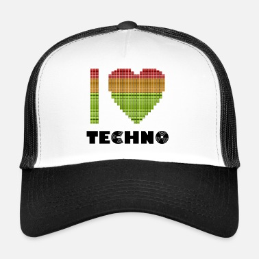 I love Techno Equalizer Heart Dance Clubbing - Trucker Cap