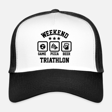Weekend Weekend triathlon pizza beer soccer Football  - Trucker Cap