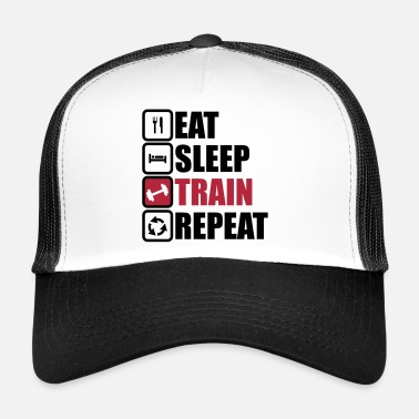 Bodybuilding eat sleep train repeat bodybuilding gym  - Trucker Cap