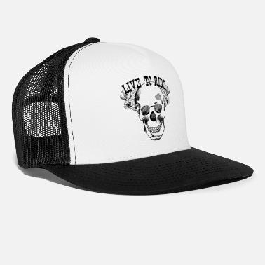 Floral Motorcycle Skull Live to Ride - Trucker Cap